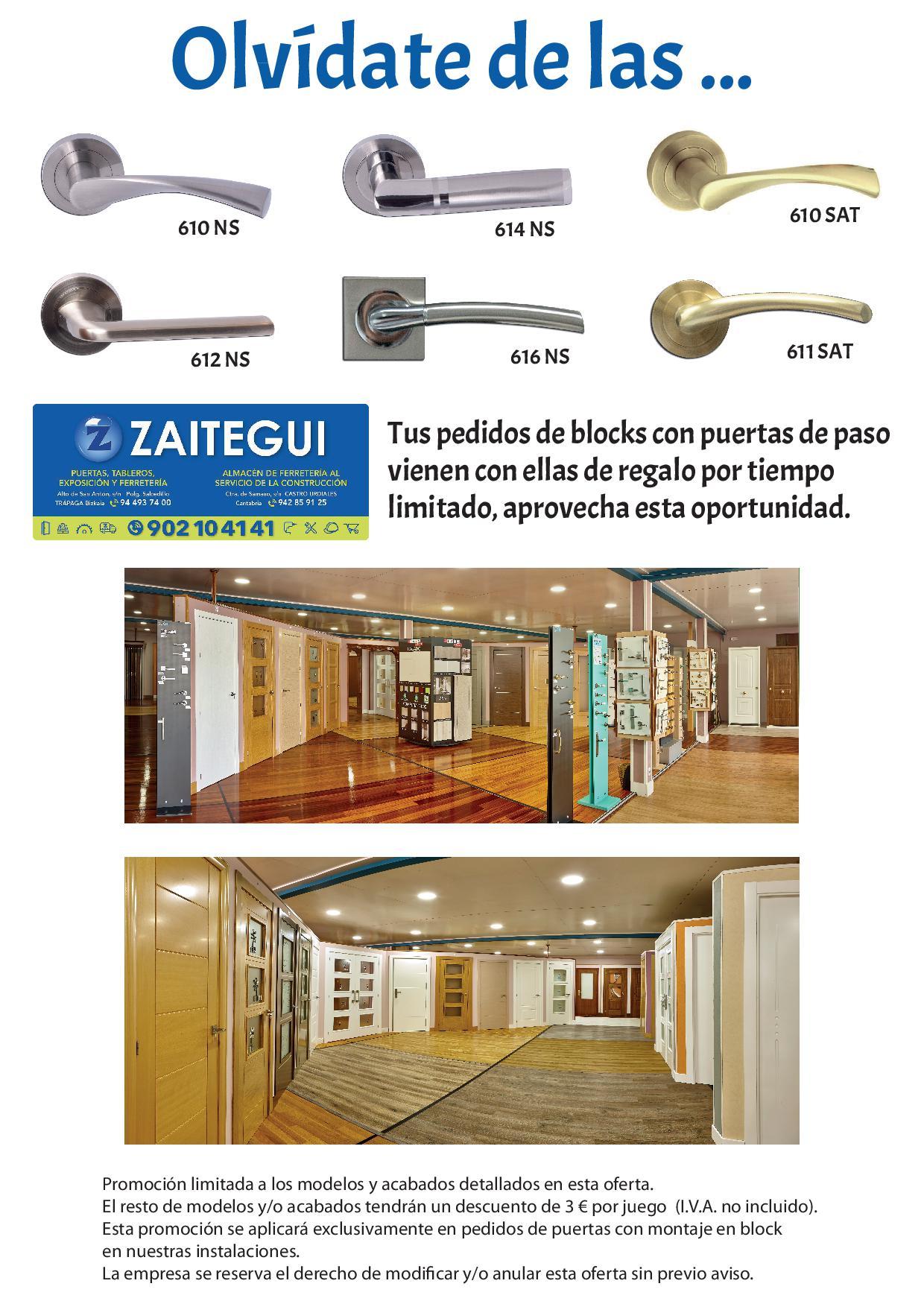 Puertas en block con manillas gratis zaitegui for Puertas zaitegui